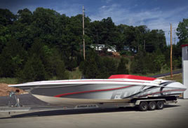 Boat Vinyl Wrap - Fountain Boat