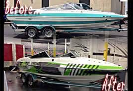 Boat Wrap / Graphics - Before & After - Boat VInyl